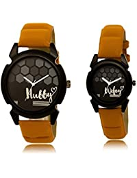 Tomorrowtrend Couple Collection Analogue Black Dial Leather Strap Watch For Men's And Women- Brown Color - Pack...