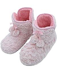 Chica de Primavera Zapatos de Felpa Botas Rosas de otoño Mujeres Pisos Lana Color Puro Hogar