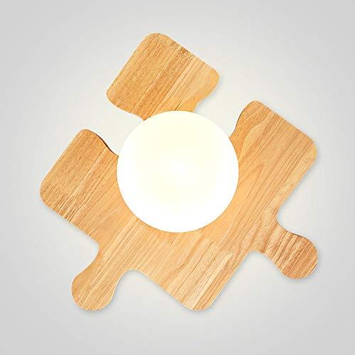 ZY * Rustikale Einzelkopf Holz Deckenleuchte Kreative Holz Puzzle Deckenleuchten Mehrere Kostenlose Splicing Schlafzimmer Wohnzimmer Kinderzimmer Gang Mode Weihnachten Deckenleuchte Leuchte
