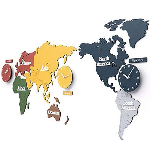 Große Wanduhr in Form einer Weltkarte, supergroße 3D-Weltkarte aus Holz mit Uhren, Geeignet für Geschäfte, Büros, Lokale (Farbe) (Zeitzonen Der Welt-karte)