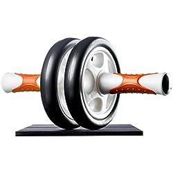 Ultrasport AB Roller Aparato de abdominales, práctico aparato de fitness para entrenar musculatura y espalda, rodillo de abdominales con esterilla para las rodillas Unisex adulto Naranja