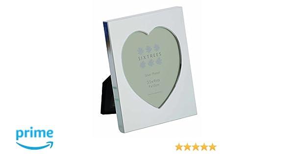 "Sixtrees Romeo Heart Shaped polished silver plated photo frame 3.5/"" x 4/"""