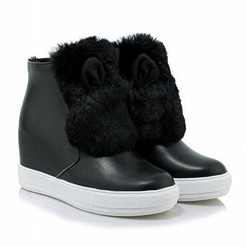 Mee Shoes Damen hidden heels Reißverschluss Pompon Ankle Boots Schwarz