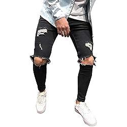 BaZhaHei Pantalones Vaqueros Hombres Rotos Pitillo Originales Slim Fit Skinny Pantalones Elasticos Agujero Pantalón Personalidad Jeans de Insignia Pantalones pitillo elásticos de mezclilla para hombre