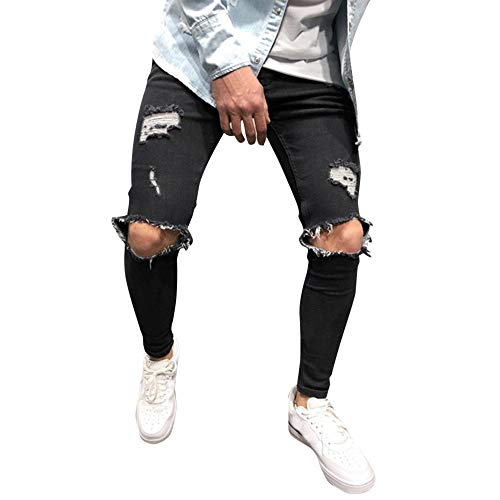 JUTOO 2019 Neue Mens Fashion Skinny Stretch Denim Pants Distressed zerrissene Slim Fit Jeans Hose (Schwarz,S) -
