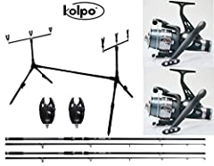 Idea Regalo - kolpo Kit Combo Carpfishing 2 Canne 2 Mulinelli 2 Segnalatori 1 Pod Pesca Carpa