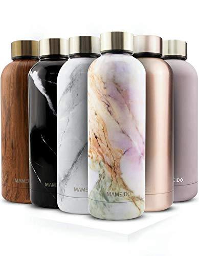 MAMEIDO Trinkflasche Edelstahl - Marmor Weiß - 750ml, 0,75l Thermosflasche - auslaufsicher, BPA frei - schlanke isolierte Wasserflasche, leichte doppelwandige Isolierflasche