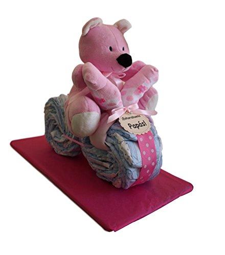 Moto de pañales en color rosa, tarta de pañales original ideal como...