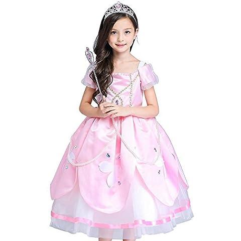 robes fleur filles tulle chiffon mariage célébration princesse printemps enfants noël halloween. pink . 130cm