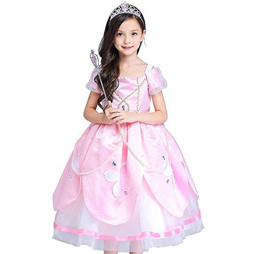 kinder blumenmädchen kleider tüll chiffon hochzeit festzug geburtstagsparty prinzessin kids weihnachten halloween . pink . 130cm