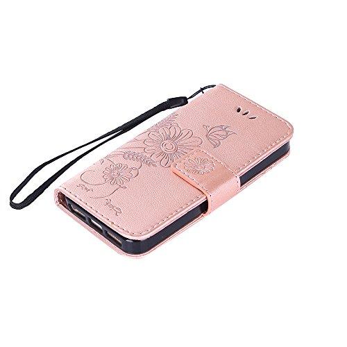 Coque iPhone 5 / 5S / SE, Housse iPhone 5S Cuir, SpiritSun Etui Coque pour iPhone 5 / 5S / SE (4.0 pouces) Élégant Papillon et Fleur Motif Leather Housse Téléphone Stand Wallet Case Luxe PU Cuir Poche Or