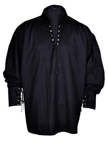 Rinascimento Casuale Estate Pirate Shirt Size Colore Nero Costume Medioevale Uomini Media