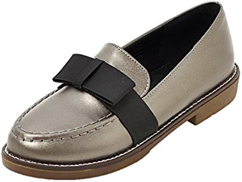 AllhqFashion Mujeres Puntera Redonda PU Tacón Bajo Slip-On Zapatos de Tacón