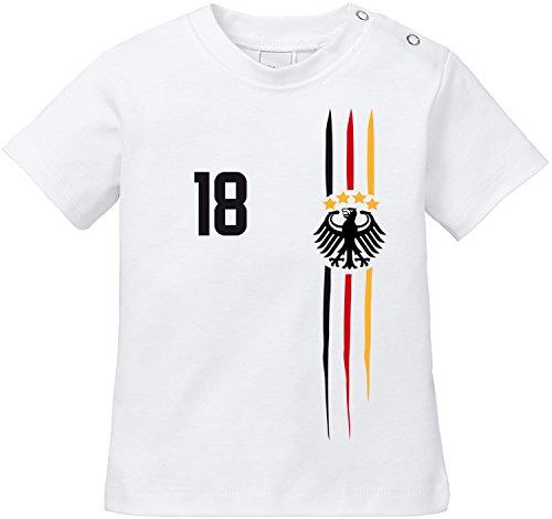 EZYshirt WM 2018 Deutschland | WM Sternchen | M 03 | Wunschname und Nummer Baby T-Shirt Bio Baumwolle