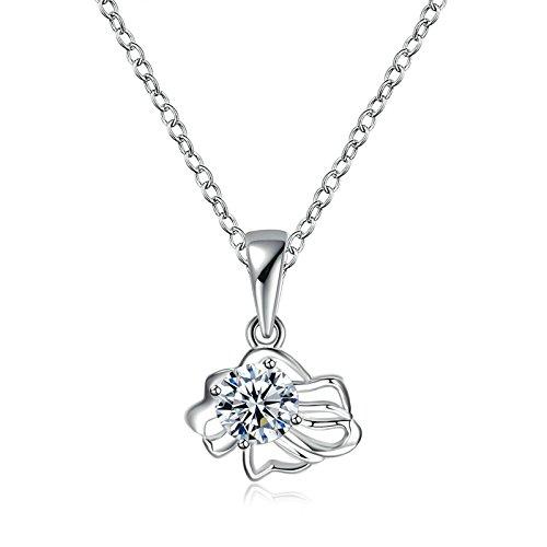Adisaer Halskette Anhänger Versilbert Damen Kette Diamant Weiß Zirkonia Anhänger Halskette Leo Für Frauen Hochzeit