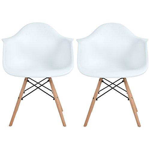 EGGREE Lot von 2 Esszimmerstuhl, Retro Stuhl Beistelltisch mit Solide Buchenholz Bein - Weiß (Küchenstuhl Retro)