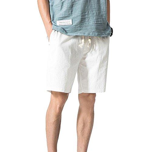 YOUTHUP Herren Sommer Cargo-Shorts kurz Cargo Hose Leinen Baumwolle Größe elastisch Sport-beiläufige Freizeithose Arbeitshose
