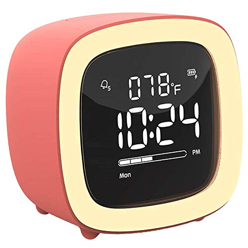 RENQIAN New-Cute-TV Reloj Despertador Luz Nocturna