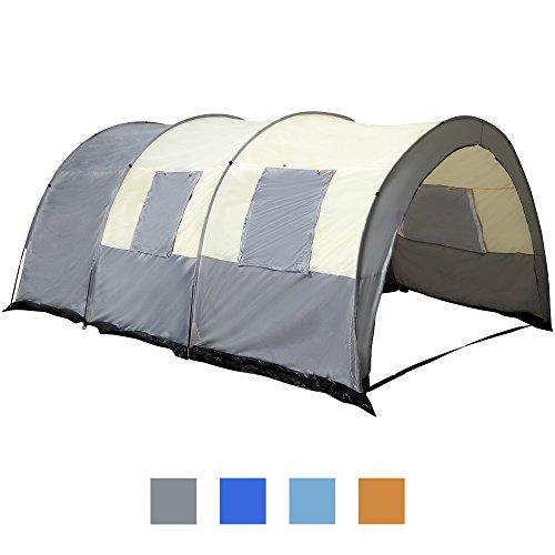 Jalano Tunnelzelt großes Familienzelt Campingzelt wasserfest Zelt 4 Personen, Farbe:grau