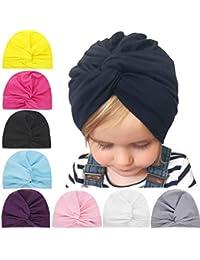 SKEPO 8 Stücke Baby Mütze Neugeborene Baumwolle Elastische Stretch Turban Kleinkind Stirnbänder Baby Mädchen Knoten Stirnband Krankenhaus Hut