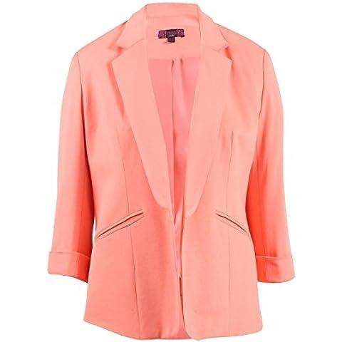 Nuovo da donna elasticizzato 3/4corto a manica aperto davanti colletto cappotto casual giacca Blazer UK 8–16