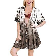 LA LEELA Bordado Mujer rayón Corto teñido Anudado Kimono Chaqueta de Punto para Camisa Playa Capa
