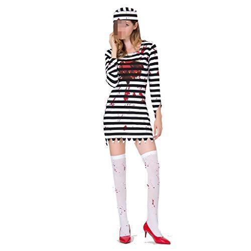 Ladies New Halloween Kostüm Ghost Festival Cosplay Horror Bloody Prisoner Kostüme Blood Adults Devils Zombies Spielkleidung (Color : Black, Size : - Ghost Piraten Adult Kostüm