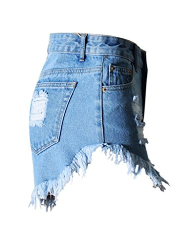 Burvogue Damen Blau Hohe Taille Retro Zerrissen Loch Denim Shorts Jeans Blau 3