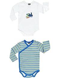 Jacky Boley Baby Jungen Wickel-Body langarm 2er-Pack Dino blau 6151786