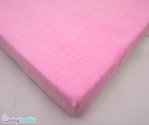 Terry Towelling Fitted Sheet 160 x 70 cm Fits Junior Toodler Bed / Cotbed – PINK