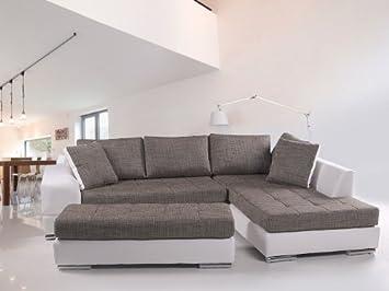 husam sofa kunstleder weiss webstoff grau, ottomane rechts: amazon ... - Sofa Für Küche