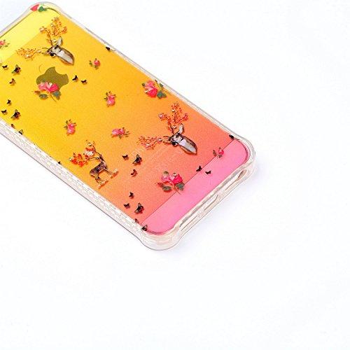 iPhone 5S Coque en Silicone Bling,iPhone SE Etui Tpu Transparent,JAWSEU Brillante Glitter Sparkle Étoiles Paillette Diamant Strass Case Cristal Clair Flex Soft Tpu Coque Housse élégant Beautiful Mode  cerf