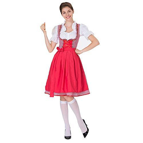 Oktoberfest Kostüm für Damen karnevalskostüme Bierfest Zofe Abendkleid Bayerisches Biermädchen Drindl Taverne Bar Maid Dress Traditionelles Midikleid Karneval Kostüm ZHANSANFM (M, rot)