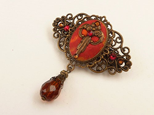 Kleine Haarspange mit Ornament in rot orange bronze