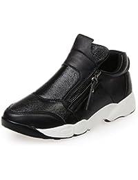 kakaka Para Mujer de Cuero Zapatos de Cuero de TAC?n Alto Golpear Las Bombas de Color Beige Negro