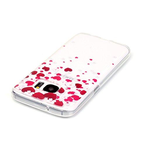 Galaxy S7 Hülle, Galaxy S7 Silikon Hülle Tasche Handyhülle [Kratzfeste, Scratch-Resistant], SainCat TPU Schutzhülle Ultradünn Weich Flexibel Silikonhülle Bumper Case Transparentes Silikon Schutzhülle  Liebe rote Blume rosa