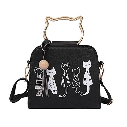 QinMM Tier Messenger Bag Frauen Handtaschen Katze Kaninchen Muster Schulter Umhängetasche Kosmetiktasche Kleine Mode Schwarz Grau Rosa (Schwarz)