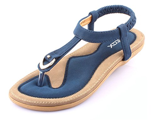 Minetom Donne Ragazze Estate Spiaggia Sandali T-Strap Peep Toe Morbido Fondo Sandali Tallone Flat Scarpe Blu EU 36