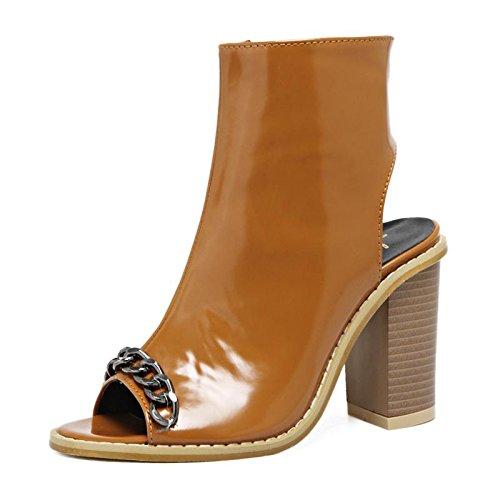LvYuan-mxx Frauen Sandalen / Frühling Sommer / Mode Kette Fisch Mund Schuhe / Komfort Casual / Office & Karriere Kleid / High Heels / Cool Stiefel BROWN-37