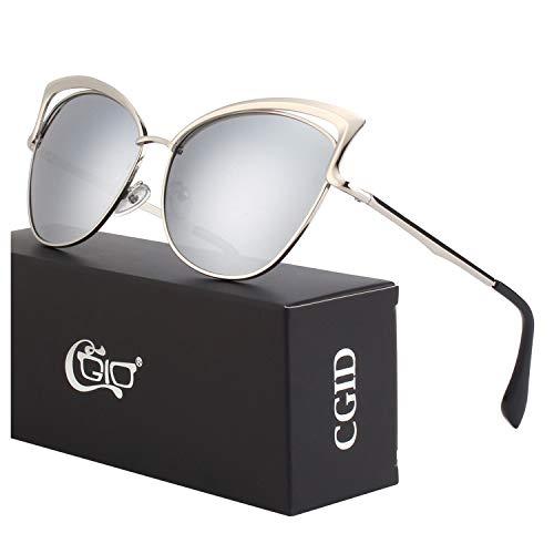 CGID Moderne Modische Spiegel Polarisierte Katzenauge Sonnenbrille Brille UV400,Silber Silber
