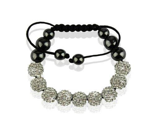 Ducomi® Kangana Zen Shamballa bracciale regolabile con 9 sfere cristallo 10 mm (White)