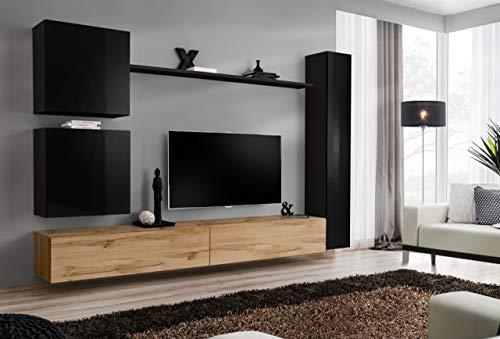 all4all Wohnwand Hochglanz TV Board Anbauwand Schrankwand Fernsehwand Wohnzimmerset Lowboard Kleine Wohnwand SW 8 (Schwarz - Wotan - Marlen)