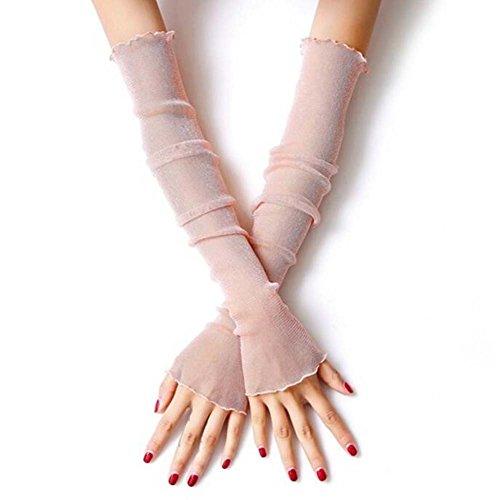 QJHP Sonnenschutz UV Arm Ärmel Lange Spitze Handschuhe Frauen Schiere Glitter Mesh Lange Fingerlose Narben Abdeckung 2 Paar,D