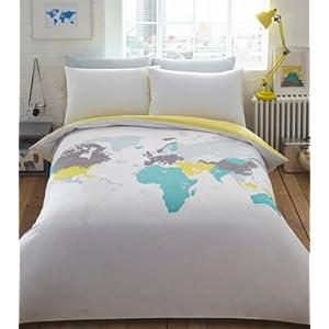 """Bluezoo – Juego de cama con diseño """"Explorador del mundo"""", colores variados"""