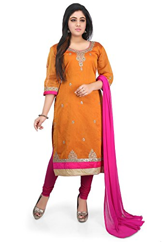 Utsav Fashion Embroidered Chanderi Cotton Straight Suit in Orange Colour