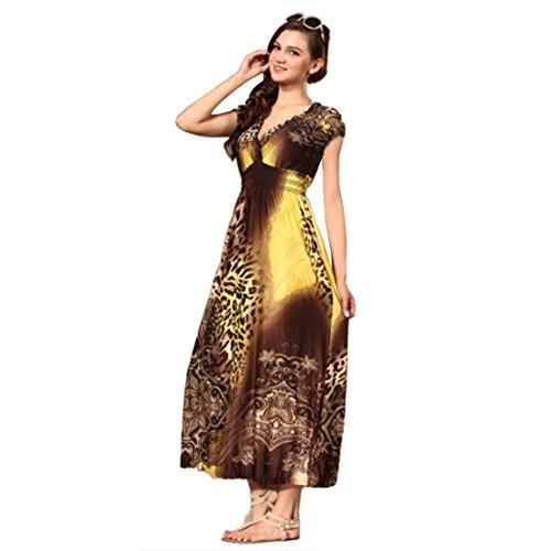 QIYUN.Z Plus GroßE Kurzarm V-Ausschnitt Leoparden-Print Boho Empire-Taille Maxi-Kleid (Band Empire-taille Mutterschaft)