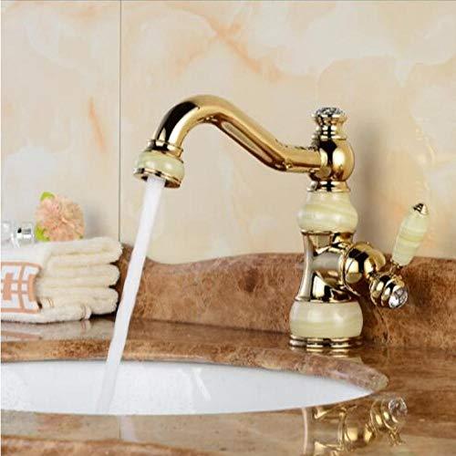 Wasserhahn Messing Jade Körper Mit Marmorbecken Wasserhahn Einhand Gold-Finish Waschtischarmaturen Wasserhähne -
