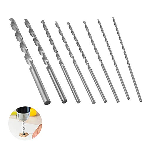 8 pcs Extra Long Drill Bits Set HSS Twist Drill Bits Small Hand Drill for Craft/Modeling/Making Holes/Jewelry Woodworking Rotary Tool