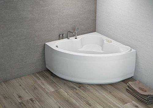 ALB Eck Badewanne-Acryl 130x130x580 inkl. Wannenfuß und Ablaufgarnitur, Schürze:mit Schürze