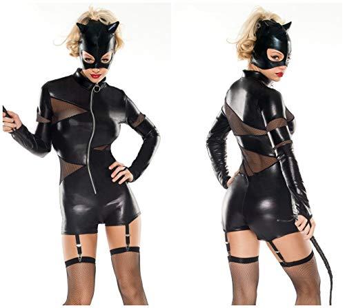 Gyan Damen Übermensch Leder Katzenfrau Body Catsuit Babydoll Halloween Dämon Cosplay Jumpsuit
